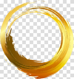Lukisan Brush Circle, tinta emas yang dicat, template bulat cokelat png