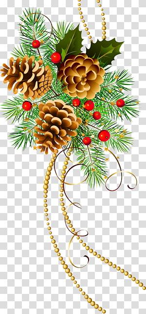 ilustrasi pohon liburan hijau, hiasan Natal hiasan Natal pohon Natal, Tiga Kerucut Natal dengan Cabang Pinus png
