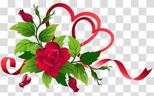 Ribbon Rose, Hearts and Roses Decor, ilustrasi mawar merah png