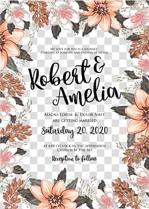 Undangan pernikahan Pernikahan Bunga Desain bunga, undangan bunga, latar belakang biru dengan hamparan teks Robert & Amelia PNG clipart