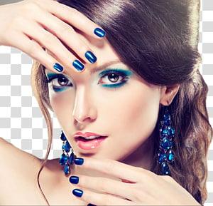 wanita dengan eyeshadow biru, Color Eye liner Cosmetics Lip liner, Fashion wanita cantik PNG clipart