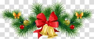 Hiasan Natal, pohon Tahun Baru Julebord, Christmas Pine Garland with Bells, karangan bunga hijau PNG clipart