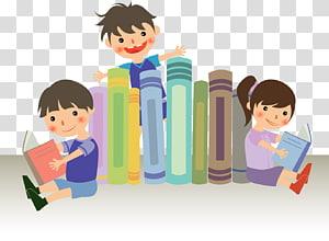 tiga anak membaca buku dan berdiri di depan tumpukan ilustrasi buku, Hari Nasional Membaca Literasi Internasional Pusat Melek Keluarga, Membaca anak png