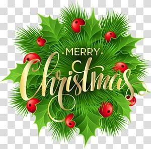karangan bunga hijau dan merah dengan hamparan teks selamat natal, Natal, Merry Christmas Pine Decoration png