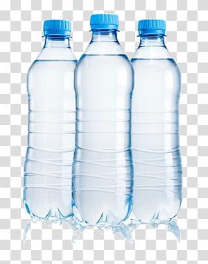 tiga botol plastik bening, air mineral s png