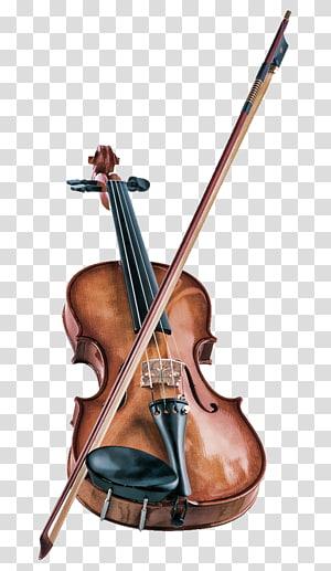 coklat biola dengan busur, Alat musik Biola Catatan musik Musik klasik, biola yang indah dan romantis png