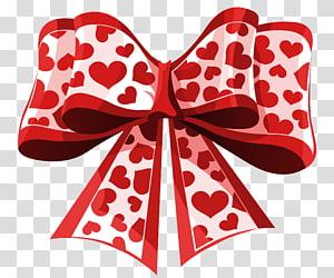 ilustrasi pita cetak jantung merah dan putih, Pita Jantung Hari Valentine, Valentine Red Heart Bow png