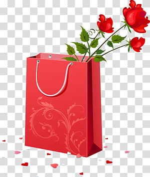 bunga mawar di kantong kertas, ulang tahun pernikahan Wish Happiness, Red Gift Bag with Roses png