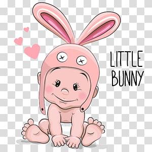 bayi dengan ilustrasi topi kelinci merah muda, Ilustrasi Anak Kartun Bayi, Dengan telinga bayi kelinci png