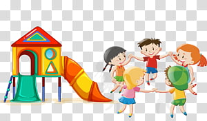 anak laki-laki dan perempuan bermain dan ilustrasi rumah bermain, Kartun Anak Bermain, taman hiburan Kartun PNG clipart