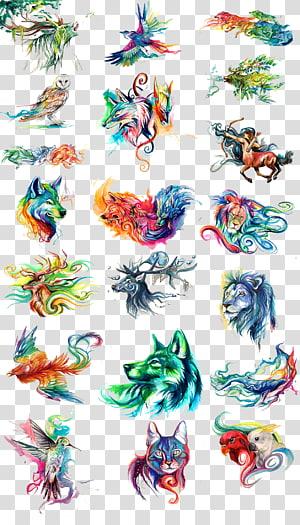 Lukisan cat air, hewan dicat cat air, kepala hewan warna-warni png