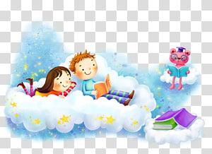 Kartun, latar belakang anak-anak ke sekolah, gadis dan anak lelaki di atas awan membaca ilustrasi buku png