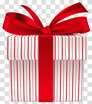 ilustrasi kotak hadiah bergaris-garis merah dan putih, Produk Pita Hadiah Merah, Kotak Hadiah dengan Red Bow png
