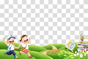 dua anak berlari di bukit dekat tumpukan buku ilustrasi, Sekolah Dasar Nasional Kartun Anak, Dua anak png