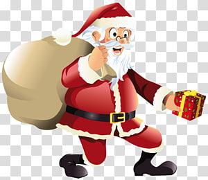 Santa Claus, Hadiah Santa Claus Natal, Santa Claus dengan Hadiah Merah png