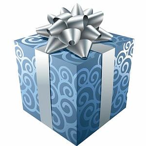 ilustrasi kotak hadiah biru dan perak, hadiah Natal hadiah Natal, Hadiah Biru dengan Pita Perak png