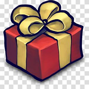 kotak merah dengan pita coklat, Ikon kotak Hadiah Hias, hadiah, Hadiah, hadiah png