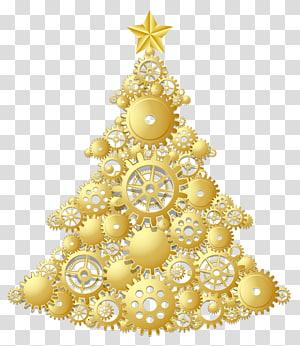 ilustrasi pohon Natal, hiasan pohon Natal Hari Natal, Pohon Natal Emas Steampunk PNG clipart