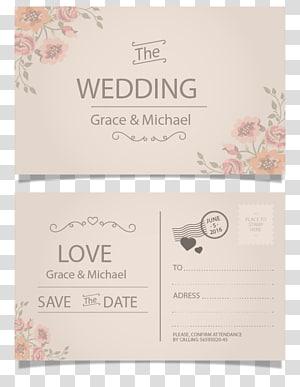 Grace dan Michael kartu undangan pernikahan, Kartu Pos undangan pernikahan, Kartu ucapan, Kartu pos gaya vintage, Kartu undangan pernikahan png