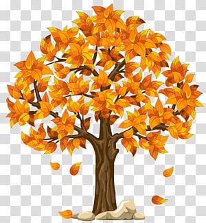 ilustrasi pohon daun jeruk, Autumn Tree, Fall Orange PNG clipart