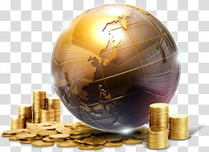 globe emas dengan ilustrasi koin, Perilaku manusia Globe Sphere, uang png