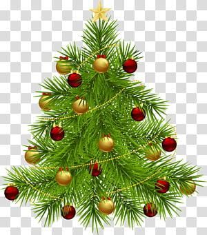 Pohon Natal Pohon Tahun Baru, Pohon Natal dengan Ornamen, pohon natal hijau dengan ilustrasi pernak-pernik merah dan kuning PNG clipart