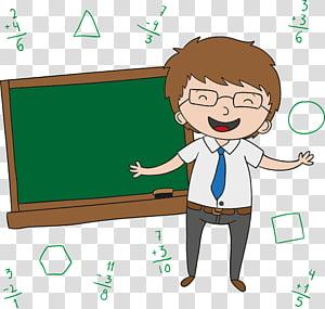 ilustrasi pria berambut cokelat animasi, Kartun Guru Hari, Guru yang tersenyum senang png