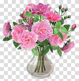 ilustrasi pink bunga dalam vas, karangan bunga Vas, Pink Roses in Vase png