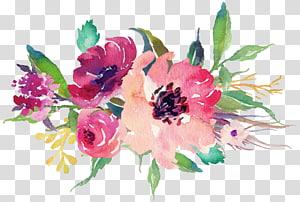 Kertas Stiker Bunga Lukisan Cat Air Pernikahan, Bunga Cat Air, ilustrasi bunga pink dan ungu png