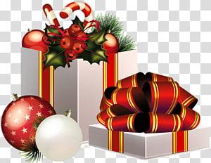 Hadiah natal hadiah Natal Santa Claus, Hadiah Natal Dekorasi, ilustrasi kotak hadiah abu-abu dan pernak-pernik merah png