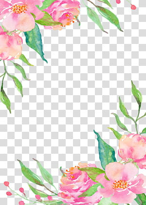 Perbatasan bunga merah muda, lukisan bunga merah muda png