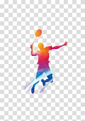 Badminton, Siluet orang bermain bulutangkis, ilustrasi pemain bulu tangkis png