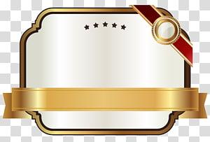 Pita Emas, Label Putih dengan Pita Emas, ilustrasi plak emas PNG clipart