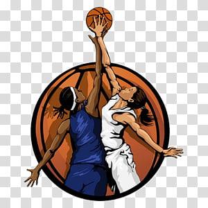 dua wanita bermain ilustrasi basket, wanita basket wanita, bola basket PNG clipart