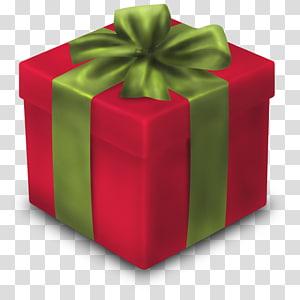 ilustrasi kotak hadiah merah dan hijau, hadiah persegi panjang hijau, Hadiah png