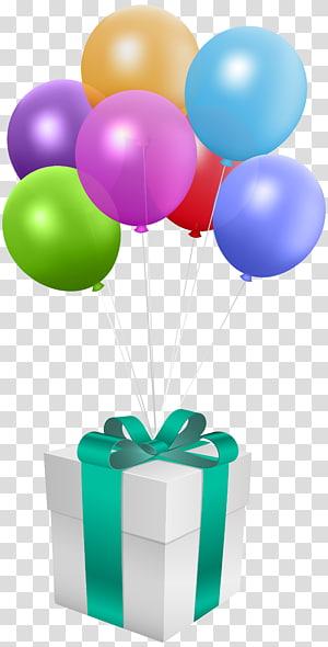 kotak hadiah balon, Hadiah Ulang Tahun Balon, Hadiah dengan Balon png