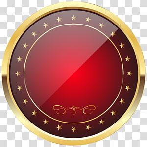 Lencana Emas Rolex GMT Master II, Template Lencana Merah dan Emas, ilustrasi bingkai bulat kuning dan merah PNG clipart