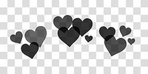 ilustrasi black hearts, PicsArt Studio Sticker Heart, bingkai mahkota png