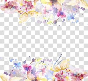 Undangan Pernikahan Flower Template, bahan cat air Tinta cat air, bunga petaled kuning dan pink png