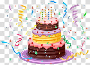 Kue ulang tahun, Kue Ulang Tahun dengan Confetti, ilustrasi kue ulang tahun png
