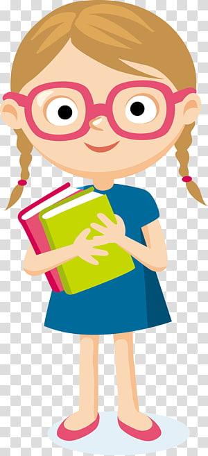 Kartun Pelajar, pelajar, cewek membawa ilustrasi dua buku png