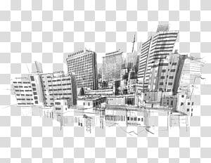 ilustrasi bangunan bertingkat tinggi, Gambar Sketsa Kota, ilustrasi potret Kota PNG clipart