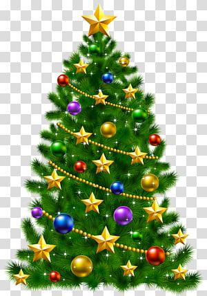 Dekorasi pohon Natal, pohon Natal Hari Natal Santa Claus, Pohon Natal dengan Bintang PNG clipart