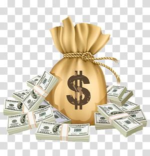 Pembayaran Pendanaan Investasi Pinjaman Uang, Kantung Uang, ilustrasi uang kertas 100 dolar AS png