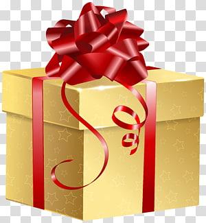pita merah pada hadiah kuning, Kotak Hadiah, Hadiah Emas png
