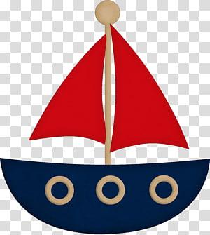 ilustrasi perahu layar biru dan merah, Drawing Sailboat Sailor, boat png