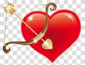 Cupid Heart, Red Heart dengan Cupid Bow, brown bow, dan red heart png