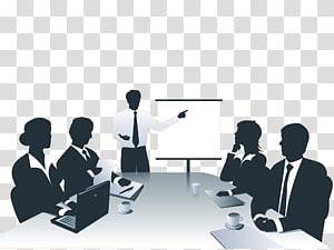 pria yang mengenakan kemeja putih lengan panjang di samping ilustrasi kanvas, Presentasi jaringan bisnis, pertemuan para pebisnis untuk membahas laporan materi png