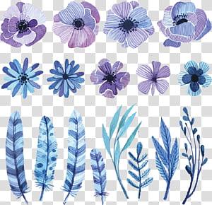 Bunga Lukisan Cat Air Gambar Sketsa, bunga cat air, bunga ungu, putih, dan hitam dan ilustrasi bulu png