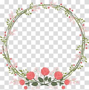 Undangan pernikahan Paper Flower Rose, Perbatasan karangan bunga segar yang indah, karangan bunga hijau dan merah muda png